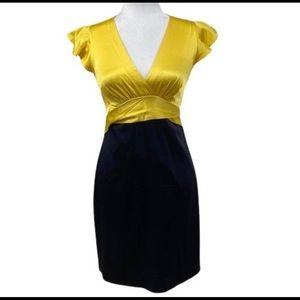 BCBG yellow and Black cocktail dress